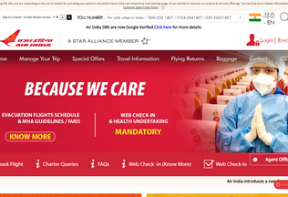 Website airindia.in desktop preview