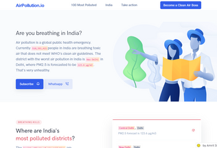 Website airpollution.io desktop preview
