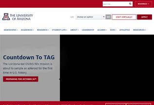 Website arizona.edu desktop preview
