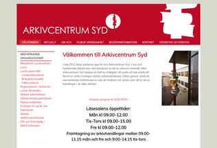 Website arkivcentrumsyd.se desktop preview