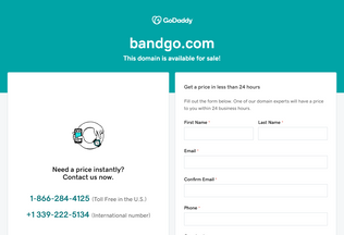 Website bandgo.com desktop preview