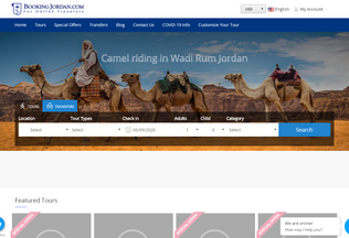 Website bookingjordan.com desktop preview