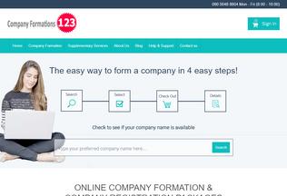 Website companyformations123.co.uk desktop preview