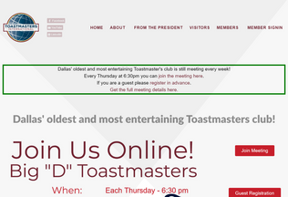 Website dallastoastmasters.com desktop preview