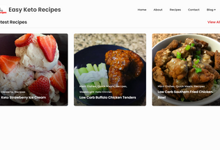 Website easyketorecipes.net desktop preview