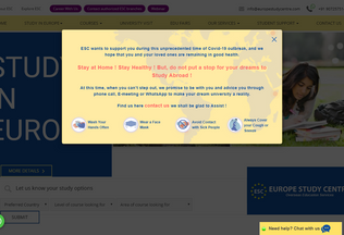 Website europestudycentre.com desktop preview