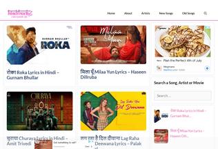 Website hinditracks.in desktop preview