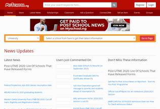 Website myschool.ng desktop preview