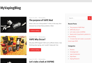 Website myvapingblog.com desktop preview
