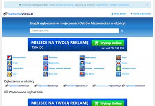 Website ogloszeniaostrow.pl desktop preview