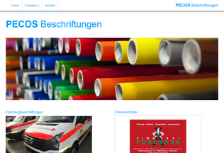 Website pecos-beschriftungen.de desktop preview