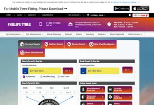 Website phillipstyres.co.uk desktop preview