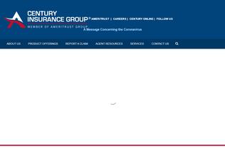 Website procenturyinsurance.com desktop preview