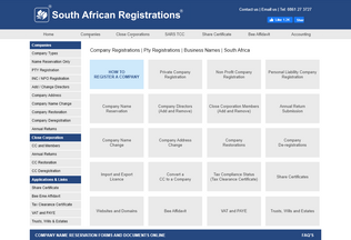 Website registercompany.co.za desktop preview