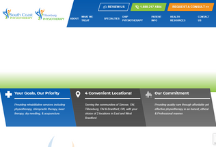Website southcoastphysiotherapy.ca desktop preview