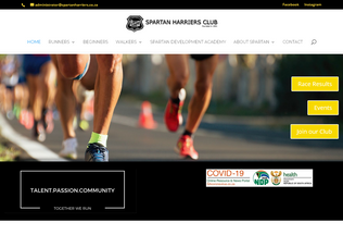 Website spartanharriers.co.za desktop preview