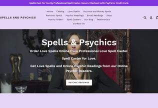 Website spellsandpsychics.co.za desktop preview