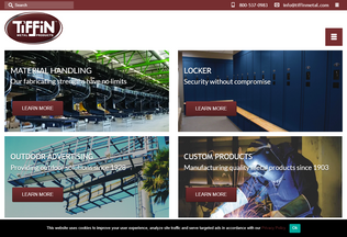 Website tiffinmetal.com desktop preview